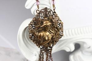 Vintage Art Nouveau Style Cameo Necklace