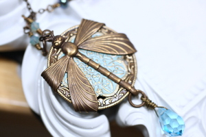 Shades of Aqua Art Deco Style Dragonfly Necklace