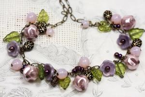 Lavender Vintage Flower Necklace, Dusk