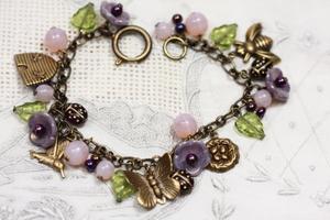 Lavender Vintage Flower Charm Bracelet, Dusk